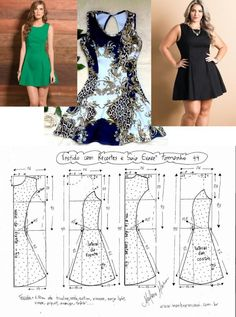 Moldes Diy Clothing, Sewing Clothes, Dress Sewing Patterns, Clothing Patterns, Romper Pattern, Make Your Own Clothes, Frock Design, Fashion Sewing, Plus Size Dresses