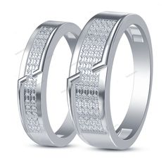 Stylish 14K White Gold Finish 925 Silver Round D/VVS1 Diamond Couple's Band Ring…