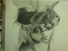 """Charcoal on white paper. """"Lady in lace"""" won GOLD key in scholastics!"""