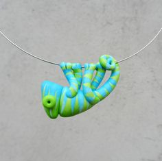 Hand made polymer clay cute BLUE.GREEN  chameleon pendant