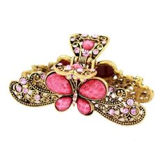 Antique Brass Rhinestone Butterfly Shark Claw Pink * To view further for this article, visit the image link. #hairmake
