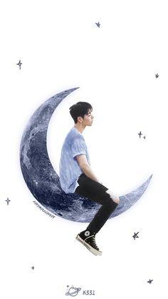 Moon man ♡ Chanwoo Ikon, Hanbin, Ikon Wallpaper, Lock Screen Wallpaper, Koo Jun Hoe, Ikon Debut, Fanart, Man On The Moon, Fan Art
