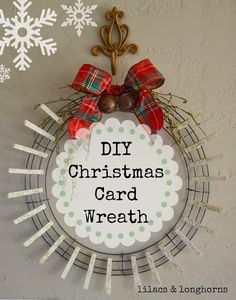 Superb Clothespin Christmas Card Wreath DIY | Christmas Cards, Wreaths And Display