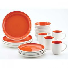 This Rachael Ray Rise Stoneware Dinnerware Set stands apart with its eye-catching plates, bowls and mugs. This dinnerware set comes in a variety of bold, two-tone hues that add color to all types of table settings. Orange Dinnerware, Stoneware Dinnerware, Rachael Ray Dinnerware, Contemporary Dinnerware Sets, Stoneware Dinner Sets, Square Dinnerware Set, Cereal Bowls, Dinner Plates, Hot Chocolate