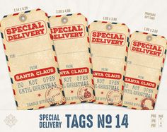 Special Delivery Tags - #Christmas Gift Tags, Santa Claus Tags, Do Not Open Until Christmas, Printable Christmas, Vintage, Hang Tags  Special Delivery Christmas Tags in vint... #etsy #digiworkshop #scrapbooking #illustration #creative #clipart #printables #cardmaking #christmas