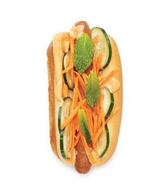 Banh Mi Dog: Add a Vietnamese twist with spicy mayo, sliced cucumber, shredded carrot, and fresh mint leaves.