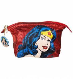 Retro DC Comics Wonder Woman Face Glitter Wash Bag : Main