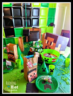 table Minecraft Party Ideas. Love the little hanging spiders. Could use for Halloween too