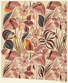 "Raoul Dufy - Bianchini Ferier, Inc/  manufacturer  Drawing, ""Textile Design: Tropical Flowers"", 1912–13 Printed proof, six colors with graphite outline of repeat."