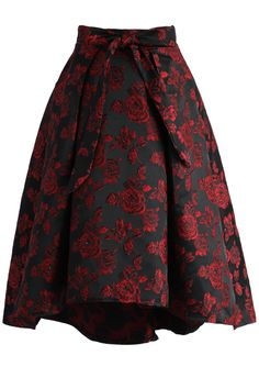 Dashing Rose Embossed Waterfall Skirt in Red - New Arrivals - Retro, Indie and…