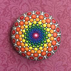 Jewel Drop Mandala Painted Stone- beautiful rainbow