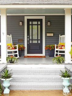 Symmetry is pleasing to the eye, but it can be difficult to obtain in home design—especially if your home wasn't built with balance in mind. Capture the effect without a remodel by creating a symmetrical front porch or walkway. Matching potted plants flanking a set of stairs or identical rocking chairs on each side of your front door will do the trick.
