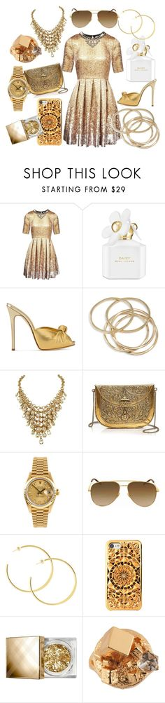 """""""Stay Gold, Ponyboy."""" by stay-gold4 ❤ liked on Polyvore featuring Matthew Williamson, Marc Jacobs, Giuseppe Zanotti, ABS by Allen Schwartz, From St Xavier, Rolex, Yves Saint Laurent, Burberry and Les Néréides"""