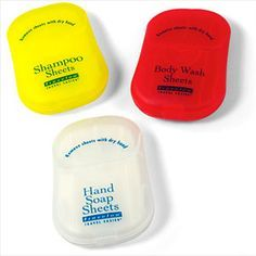 These biodegradable and carry-on compliant products are liquid-free. Choose from sheets of Hand Soap, Shampoo, Conditioner, Body Wash, Shaving, or Laundry Soap that dissolve in water.