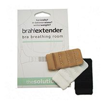 Solutions That Stick Brah! Extender: Bra Breathing Room (2 hook), White/Black/Beige 1 ea