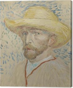2332f7392f4728 Vincent van Gogh - Self-portrait with straw hat and artist s smock Canvas  Print • Pixers® • We live to change