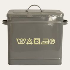 Crafted in a smart grey powder coated steel with a fitted lid and handles, our Laundry Powder Box features laundry symbols as a chic design touch, and is ideal for storing your washing powder. Laundry Symbols, Laundry Powder, Powder Coating, Touch, Steel, Chic, Grey, Box, Design
