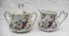 Antique Creamer and Sugar Sets | VINTAGE Rose Design Creamer And Sugar Set