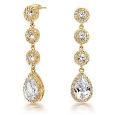 Bling Jewelry Vintage Gold Crown Set CZ Pave Teardrop Chandelier Earrings featuring polyvore fashion jewelry earrings clear gold earrings cz chandelier earrings gold drop earrings vintage gold earrings teardrop earrings
