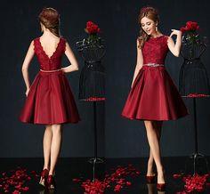 Burgundy Satin Dresses Cocktail Aline Applique Open back Knee Length Prom Gowns…