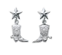 Bar V Ranch by Vogt Silver Boot Earrings #311-050