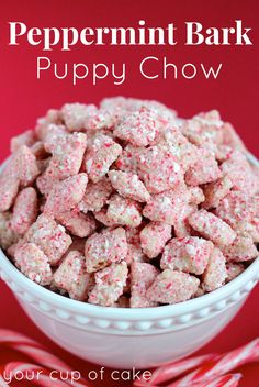 Peppermint Bark Puppy Chow - I'm not the biggest peppermint fan, but this stuff is yummy! Plus, it took about 15 minutes to make the entire batch. Winning combo! 1 box Rice Chex about 21 oz. white melting chocolate discs 18 candy canes, crushed -JC