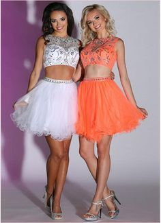 White and orange homecoming dresses
