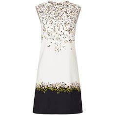 Rental Giambattista Valli Fresh Flower Printed Shift Dress ($300) ❤ liked on Polyvore featuring dresses, crew neck dress, shift dress, white dress, white floral dress and white floral print dress