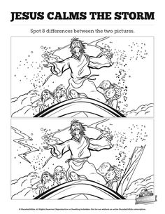 Jesus Calms The Storm Kids Spot The Difference: Do you think your kids can spot all the differences between these two Jesus calms the storm Sunday school illustrations? Featuring beautiful artwork from Luke 8:22-25 this Jesus calms the storm activity sheet is filled with the kind of silly fun your kids will love.