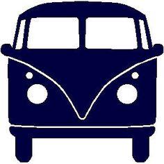 veloursmotief donker blauwe VW bus   Strijk / Veloursmotieven   full color strijkapplicaties en zo