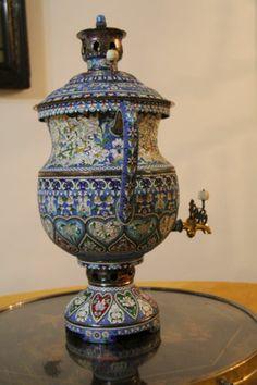 Russian enamel silver Samovar.