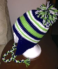 Seattle Seahawks Earflap Hat Infant and Child by jarifrancis e30e85166fb
