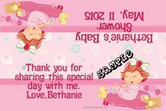 Baby Shower Strawberry Shortcake Baby Candy Bag Label