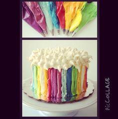 Rainbow cake. Pastel decirado con betun de mantequilla. Reposteria artesanal. Manle treviño.