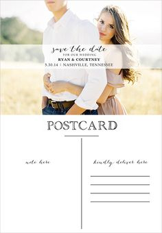 DIY postcard save the date back Wedding Stationary