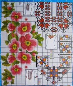 Folk Fashion, Cross Stitching, Pattern Fashion, Embroidery, Knitting, Towels, Cross Stitch, Punto De Cruz, Dots