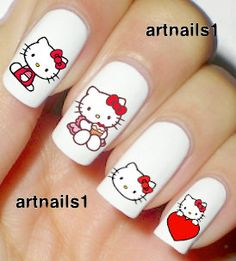 Hello Kitty Cat Nails Nail Art Polish Manicure Red by artnails1