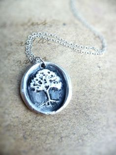 Wax seal necklace tree with hidden heart made by DreamofaDream