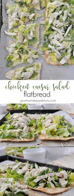 Chicken Caesar Salad Flatbread from yourhomebasedmom.com