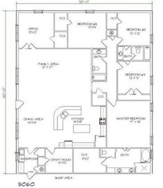 Barndominium Floor Plans 5 Bed, 3 Bath