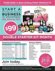 DOUBLE STARTER KIT!!!  I'm trying not to be insanely jealous of this month's new recruits.  Seriously, over $280 in product for $99 -- AND you get business cards, sample stickers, Posh Papers, and tons of other business supplies!