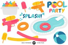 Pool Party Clipart by Emily Peterson Studio on