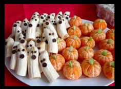Banana ghosts and oranges as pumpkins such a good idea