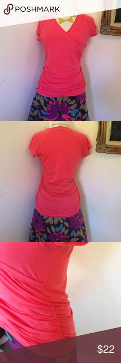 """CAbi coral cotton top CAbi, coral shortsleeve top. Size medium. Material: 95% cotton, 5% spandex. Style# 965. Machine wash cold. Measurements: bust: 17"""", length: 24"""". Pre-loved, beautiful condition. No flaws seen. CAbi Tops Blouses"""