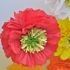 Paper Goods tissue paper pom pom paper flower fleur television set decor nursery playroom birthday tea party DIY hanging garden whimsical colorful baby shower decor ohcanadateam poppy poppies carnival color wedding bridal decor photobooth prop
