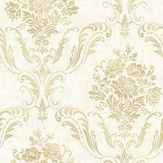 Manor Cream Floral Damask Wallpaper Brewster Wallcoverings Gold Whites Acanthus Leaf Damask Floral & Plants Traditional, Easy to clean , Easy to wash, Easy to strip Embossed Wallpaper, Damask Wallpaper, Wallpaper Roll, Pattern Wallpaper, Wallpaper Ideas, Cream And Gold Wallpaper, Hallway Wallpaper, Wallpaper Designs, Stencil Designs