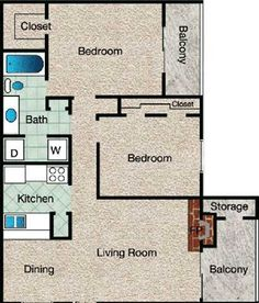 Legend Floor Plan at The Copper Hill Apartments in Bedford, TX
