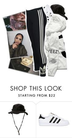 """« bad b-itch wit' a tan, do you know one by chance? »"" by p-rojectbaby ❤ liked on Polyvore featuring Børn, Rothco and adidas Originals"