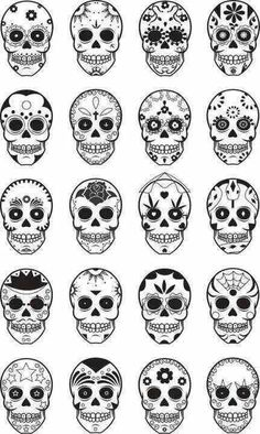 Sugar Skull Patterns - My fave is the stars at the bottom left corner.  Next #tattoo design #tattoo patterns