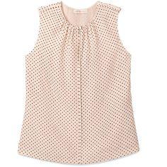 Tory Burch Fern Top ($98) ❤ liked on Polyvore featuring tops, blouses, shirts, blusas, blush champagne dot mini b, dressy shirts, v-neck shirts, dressy blouses, sleeveless shirts and polka dot shirt